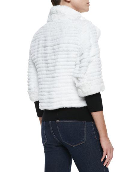 High-Collar Layered Fur Coat, White