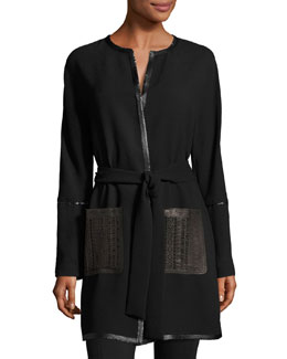 Luma Leather-Trimmed Crepe Coat, Black