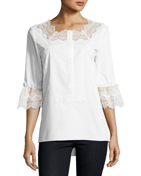 Magda 3/4-Sleeve Lace-Trim Blouse, White