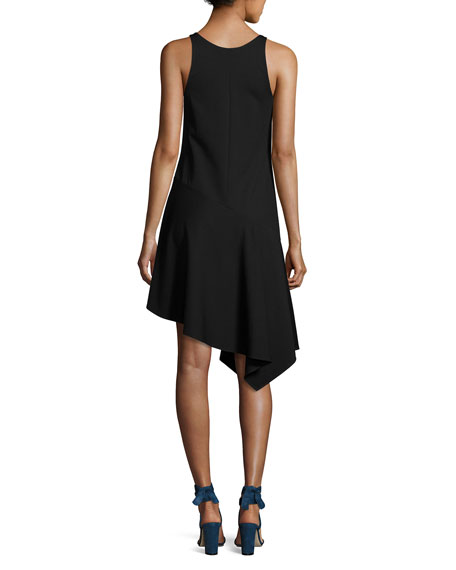 Sleeveless Asymmetric Jersey Dress, Black