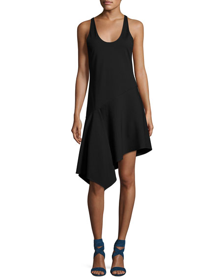 Sleeveless Asymmetric Jersey Dress, Black