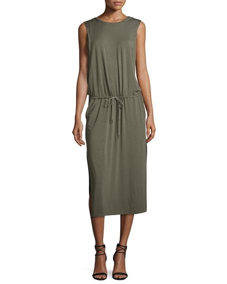 Sleeveless Jersey Midi Dress, Dark Safari
