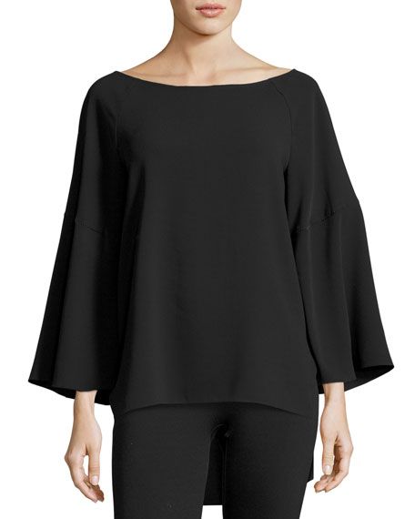 Halston Heritage Flounce-Sleeve Boatneck Tunic Top, Black