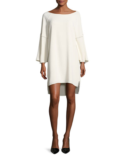 Flounce-Sleeve Wide Boat-Neck Dress, Cream