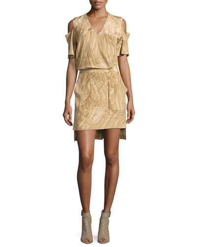 Short-Sleeve Cold-Shoulder Faux-Wrap Dress, Khaki Botanical