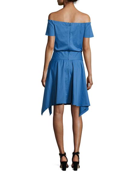 Off-the-Shoulder Handkerchief-Hem Dress w/ Tie, Coastal Blue