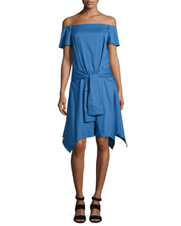 Off-the-Shoulder Handkerchief-Hem Dress w/ Tie, Coastal Blue