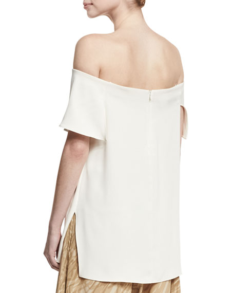 Off-the-Shoulder Asymmetric Draped Top, Cream