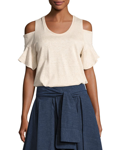 Cold-Shoulder Crewneck T-Shirt, Heather Camel