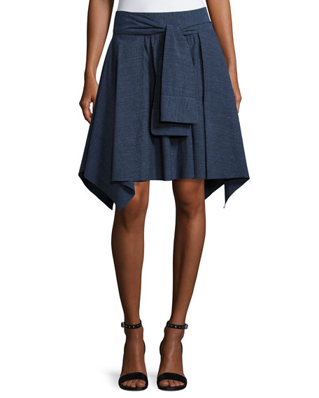 Halston Heritage Mini Flounce Skirt w/ Sash, Dark