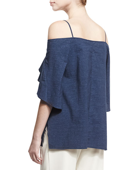 Flowy Cold-Shoulder Denim Top, Blue