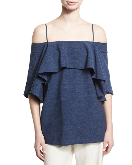 Halston Heritage Flowy Cold-Shoulder Denim Top, Blue