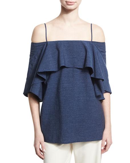 Flowy Cold-Shoulder Denim Top, Blue