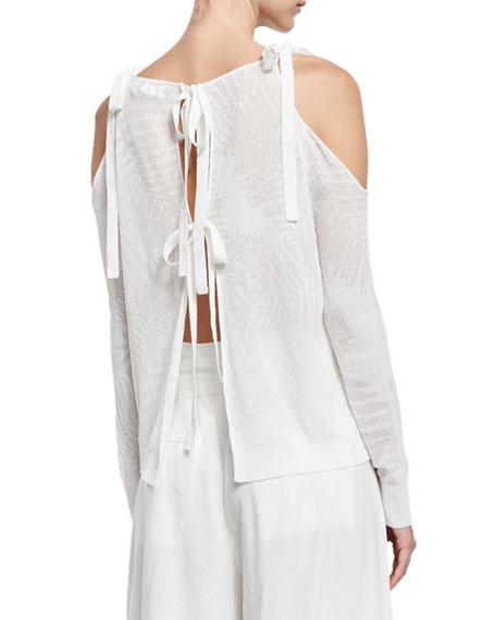 Sasha Palm Leaf Jacquard Sweater, White