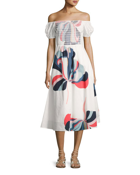 Tanya Taylor Designs Zanna Floral Ribbon Dress, White