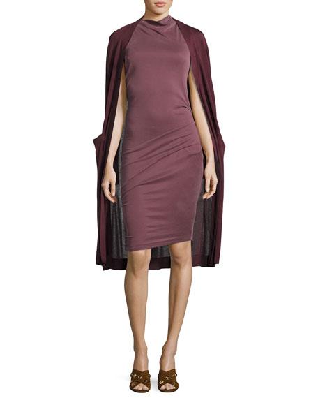b086c1976bc Halston Heritage Sleeveless Mock-Neck Draped Jersey Dress, Sugar Plum
