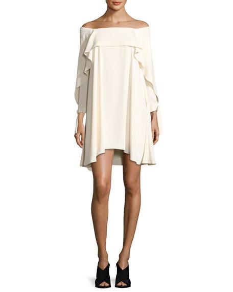 Off-the-Shoulder Shift Dress w/ Flounce Detail, Cream