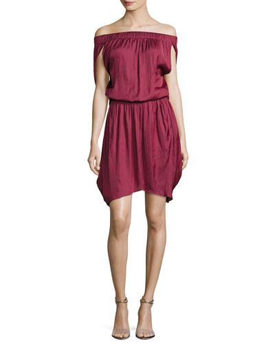 Off-the-Shoulder Satin Dress, Dark Wildberry