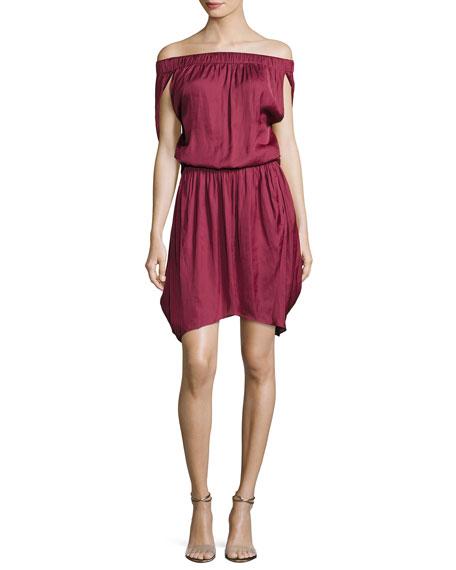 Halston Heritage Off-the-Shoulder Satin Dress, Dark Wildberry