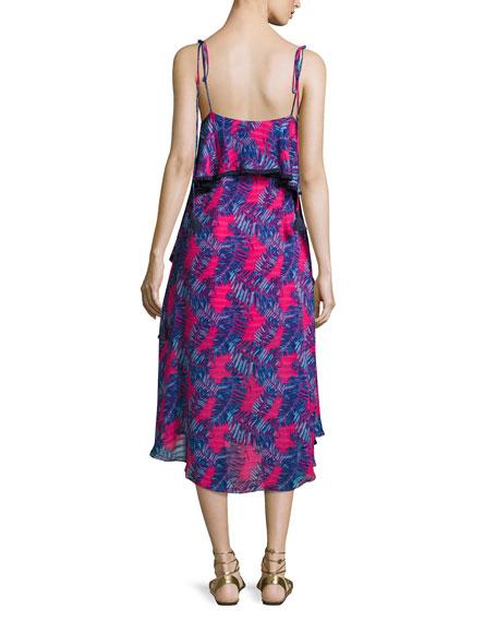 Josefina Printed Silk Midi Dress, Pink/Blue