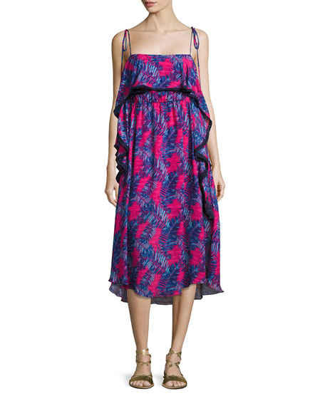 Josefina Printed Silk Midi Dress, Pink/Blue