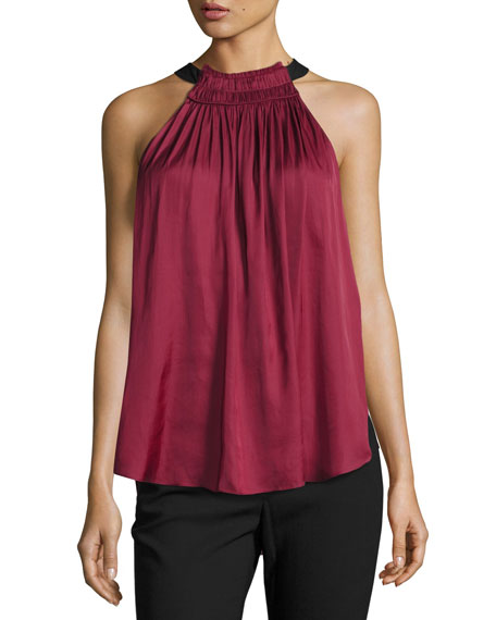 Halston Heritage Sleeveless Halter-Neck Ruched Top, Dark
