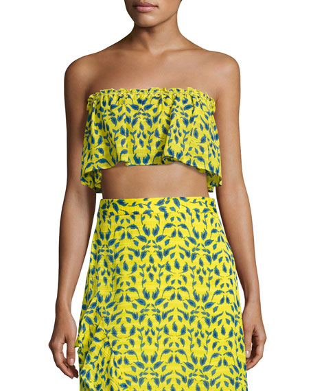 Tanya Taylor Designs Gina Ruffled Bandeau Top, Yellow