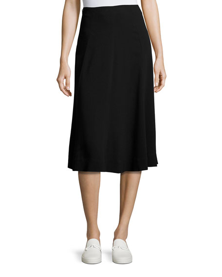 Theory Zimri Crepe Midi Skirt, Black