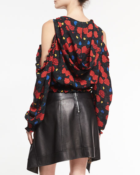 Foggia Floral Hooded Cold-Shoulder Top