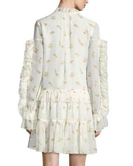 Metz Floral-Print Silk Dress, Cream