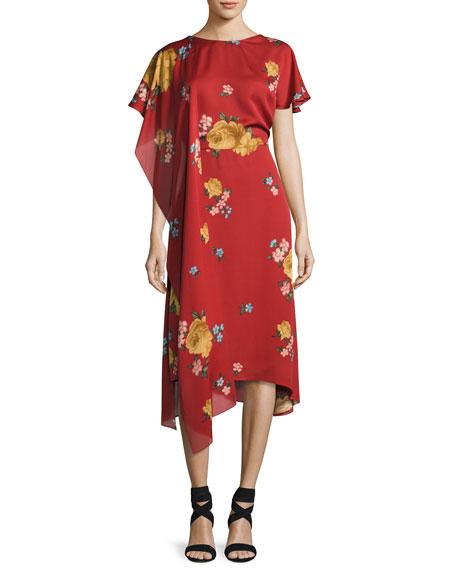 Sorrento Floral-Print Midi Dress, Red