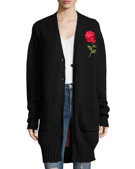 Chester Rose-Embroidered Lone Cardigan, Black