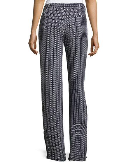 Brilda Geometric Printed Silk Pants, Blue