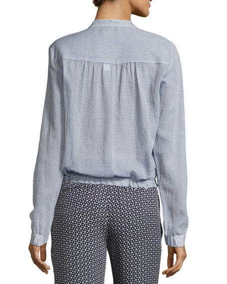 Minitivie Long-Sleeve Checkered Top, Blue