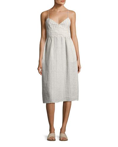 Melaena B Narrow-Stripe Linen Sundress, white