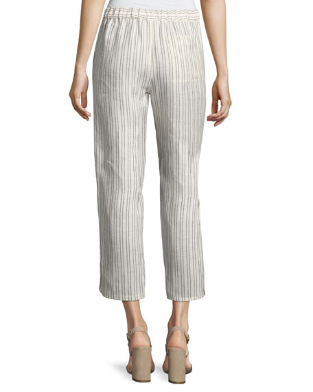Thorina Narrow Striped Linen Pants, White