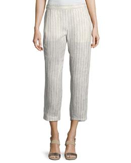 Thorina Narrow Striped Linen Pants, White