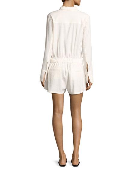 Ranay Crunch Wash Long-Sleeve Romper, White