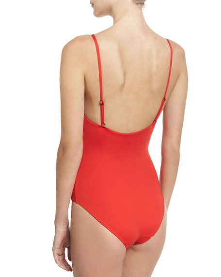 Arianna Zip-Front One-Piece Swimsuit, Red