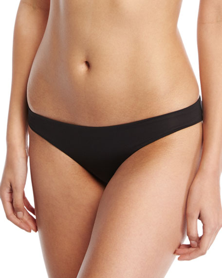 Lily Stretch Solid Swim Bikini Bottom, Black