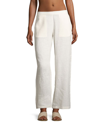 Mila Wide-Leg Coverup Pants, White