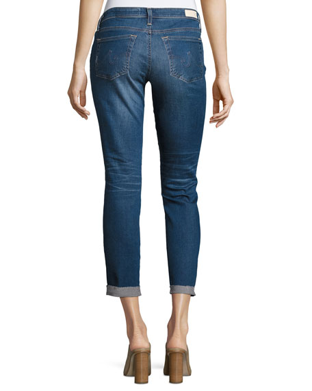 Stilt Roll-Up Cropped Distressed Jeans, Medium Blue