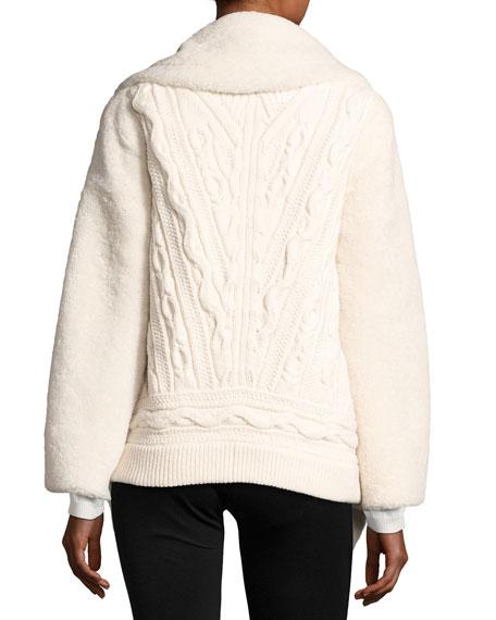 Teddy Shearling Fur Pea Coat, White