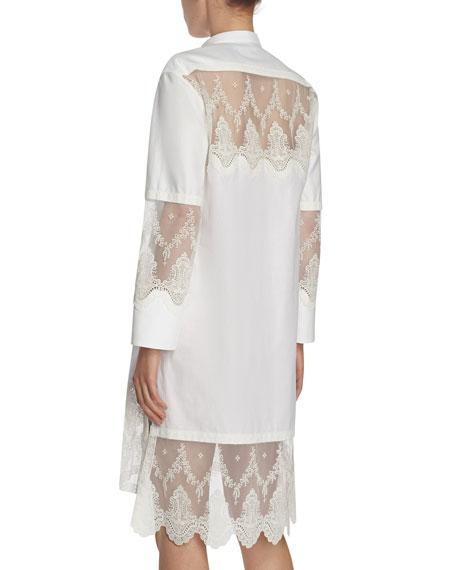Herringbone Cotton Shirtdress with Lace Inserts, White