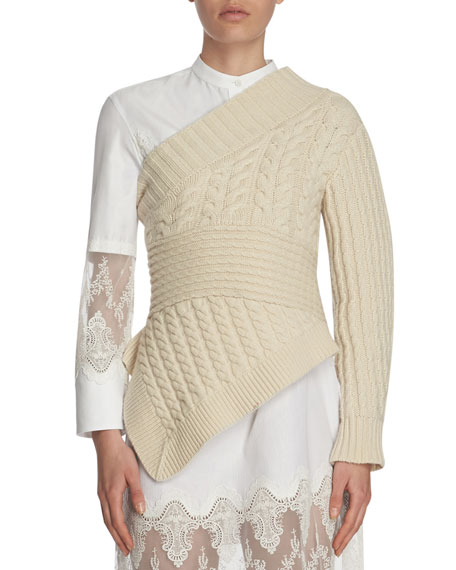 Cable-Knit Cashmere One-Shoulder Sweater, White
