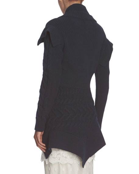 Knit Military-Style Jacket, Navy