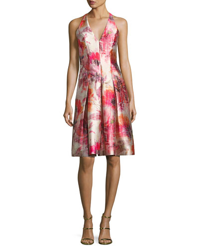 Sleeveless Floral Satin Twill Cocktail Dress, Red/Multicolor
