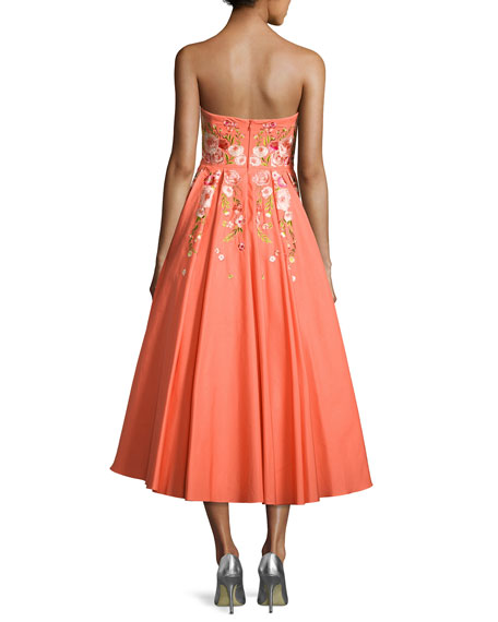 Strapless Embroidered Faille Tea-Length Gown, Coral