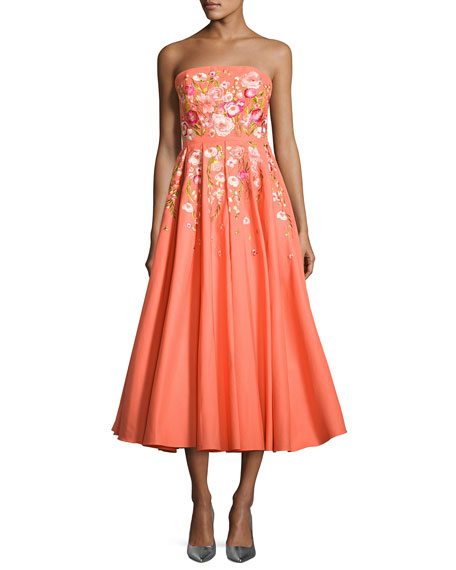 96c18bd46d Marchesa Notte Strapless Embroidered Faille Tea-Length Gown, Coral