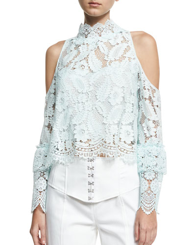 Visionary Long-Sleeve Cold-Shoulder Lace Top, Blue